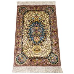Yilong Persian Area Rug Oriental Silk Hand Knotted Floral Medallion Design Carpet, 2′ x 3& ...