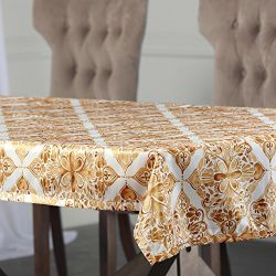Half Price Drapes PTPCH-170803C-TC-108 Tiera Designer Faux Silk Taffeta Table Cloth, Gold, 54 x 108