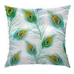 Moslion Feather Pillow Home Decorative Throw Pillow Cover Case Peacock Feathers Pattern Satin Sq ...