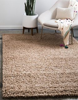 Unique Loom Solo Solid Shag Collection Modern Plush Sandy Brown Area Rug (8′ x 11′)
