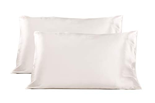 TexereSilk Mulberry Silk Pillowcase (2-Pack, Ultra White 2 PK, K) Gift for Dad