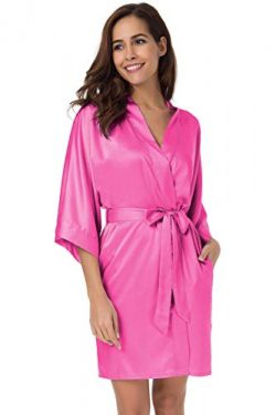 SIORO Women's Satin Robes Silk Kimono Bathrobe for Bride Bridesmaids Wedding Party Loungew ...