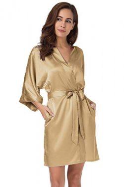 SIORO Women's Satin Robes Silk Kimono Bathrobe for Bride Bridesmaids Wedding Party Loungew ...