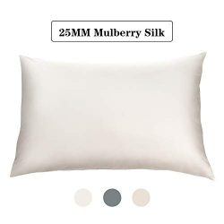 Simiao Silk Pillowcase for Hair and Skin (White, King(20×36 inch)) 25 Momme Silk Breathable Cott ...
