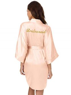 SIORO Robe for Bridesmaids Womens Silk Satin Robes Personalized Bridal Shower Bathrobes Short Ki ...