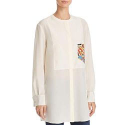 Tory Burch Womens Silk Woven Button-Down Top