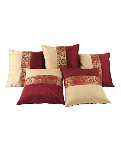 THE ART BOX Indian Cushion Cover Home Décor Indian Ethnic Throw Pillow Covers for Décor (Red, 5)