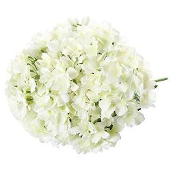 MEIBEL Artificial Cream hydrangea silk flowers 17″ 7 Head Big fake hydrangea flowers Bouqu ...
