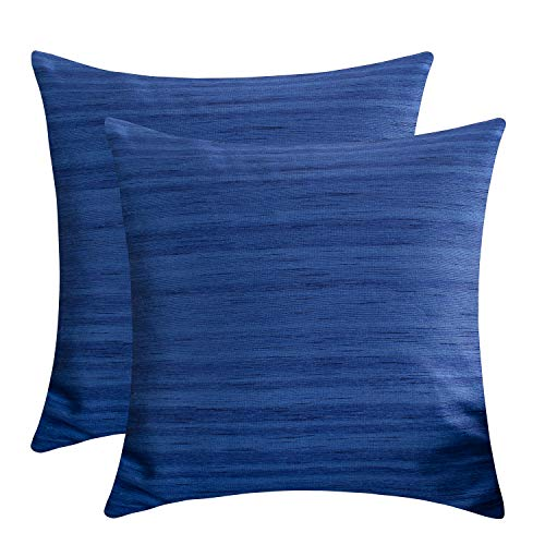 The White Petals Indigo Blue Decorative Pillow Covers (Faux Silk, 12×12 inch, Pack of 2)