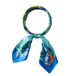 Bellonesc 100% Silk fashion square painting women headscarf neck scarves for women (blue green)