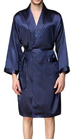 YIMANIE Mens Silk Satin Robe Lightweight Spa Bathrobe with Shorts Nightgown Long Sleeve House Ki ...