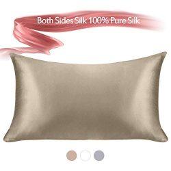 Jaciu 100% Pure Silk Pillowcase, Both Side Silk Pillowcases King/Queen/Standard Size Hidden Zipp ...