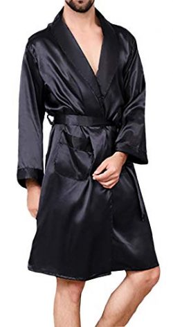 YIMANIE Mens Silk Satin Robe Lightweight Spa Bathrobe with Shorts Nightgown Long Sleeve House Ki ...