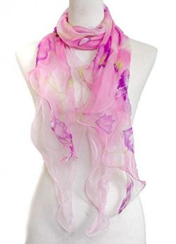 Double Layer Silk scarf, Floral Ruffle Silk Scarf, Summer scarf (Pink Purple)
