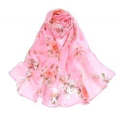 Print Silk Feeling Scarf Fashion Scarves Lightweight Shawl Scarf Sunscreen Shawls for Womens (pe ...