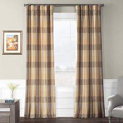 Pts-SLK33-108 Faux Silk Plaid Curtain, 50 x 108, Sutton