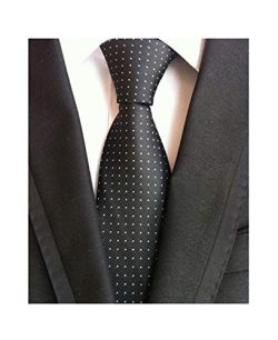 Men's Black and White Jacquard Woven Silk Tie Textured Slim Cut Working Neckties