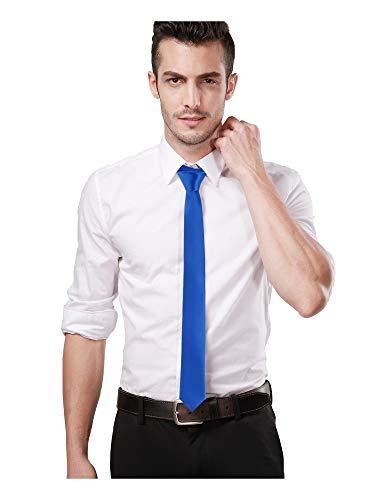 Landisun Skinny Royal Blue Tie Silk Tie Satin Slim Necktie Exclusive 2 inch