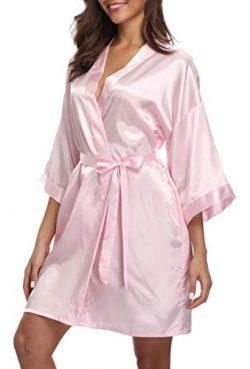 iFigure Women's Short Kimono Robe Dressing Gown Silky Bridesmaid Robes Bathrobe, Baby Pink ...
