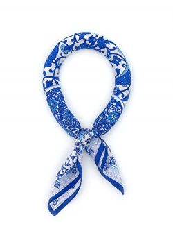 Women's 100% Real Mulberry Silk Scarf Small Square Scarf for Neck and Hair, 21'' x 21'' (Blue po ...