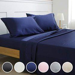 Vonty Satin Sheets Queen Navy Blue Silky Satin Sheet Set, Deep Pocket Fitted Sheet + Flat Sheet  ...