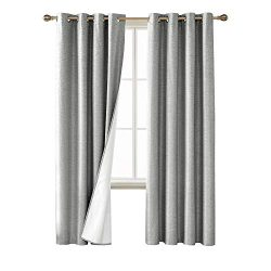Deconovo Blackout Curtains Textured Room Darkening Light Blocking Black Out Window Draperies wit ...