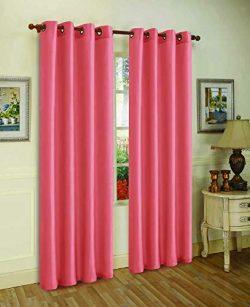 J&V TEXTILES 2 Panels Solid Grommet Faux Silk Window Curtain Drapes Treatment in 84″ L ...
