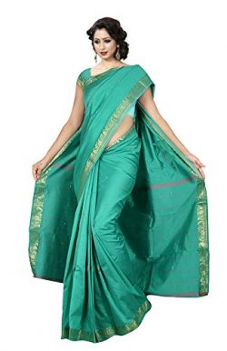 KoC Indian Traditional Ethnic Women wear Art Silk Saree -Seagreen