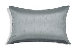 Aiking Home Solid Faux Silk Decorative Pillow Cover, Zipper Closure, 12 by 18 Inches, Charcoal