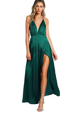 SheIn Women's Sexy Satin Deep V Neck Backless Maxi Party Evening Dress Dark Green Small