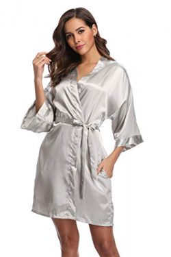 Season Dressing Women Satin Plain Short Kimono Bridesmaid Bathrobe Wedding Party Robe, Silver L/XL