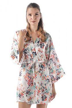 momomio Short Silk Satin Robe for Women Floral Animal Print Loungewear Sleepwear (XL, Ivory Humm ...