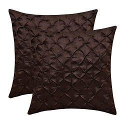 The White Petals Dark Brown Throw Pillow Covers (Faux Silk, Pinch Pleat, 16×16 inch, Pack of 2)