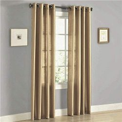 2 Panel Faux Silk Solid Curtain Drapes with Bronze Grommet (108″ Total Width by 84″  ...