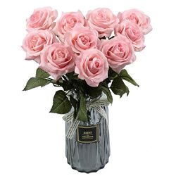 famibay 10pcs Artificial Flowers Rose Bouquets Vantage Fake Silk Rose Flowers with Leaf and Plas ...