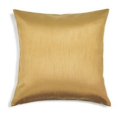 Aiking Home Solid Faux Silk Euro Sham/Pillow Cover, Zipper Closure, 26 by 26 Inches, Brass