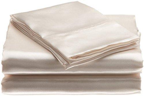 """Bedding Emporium 100% Pure Silk Satin Sheet Set 7pcs, Silk Fitted Sheet 15"""" Deep Pocket,Si ..."""