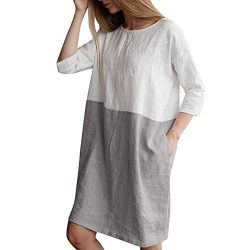Women Long Sleeve Shirt Dress, Ladies { Loose Dress Plus Size } Crew Neck Pocket Long Tops