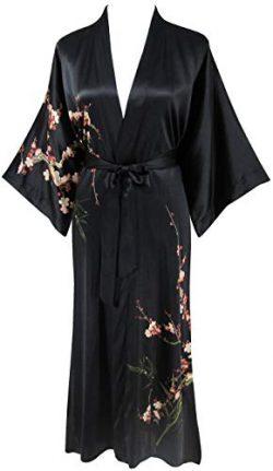 Ledamon Women's 100% Silk Kimono Long Robe – Classic Colors and Prints Enclosed in a ...