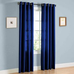 2 Panel Faux Silk Solid Curtain Drapes with Bronze Grommet (108″ Total width by 63″  ...