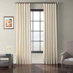 HPD Half Price Drapes SSCS-180745-96 Faux Dupioni Shantung Silk Curtain, 50 x 96, Farfalla Ivory