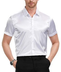 PAUL JONES Men's Luxury Short Sleeve Button Down Dress Shirts Silk Like Party Dance Prom S ...