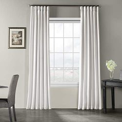 Half Price Drapes PDCH-KBS1-96 Vintage Textured Faux Dupioni Silk Curtain, 50 x 96, Ice