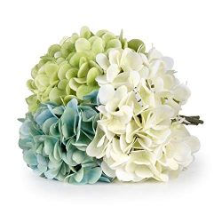 T4U 3 Heads Artificial Silk Hydrangea Flowers Fake Flowers Faux Flowers Bouquet for Flowers Arra ...