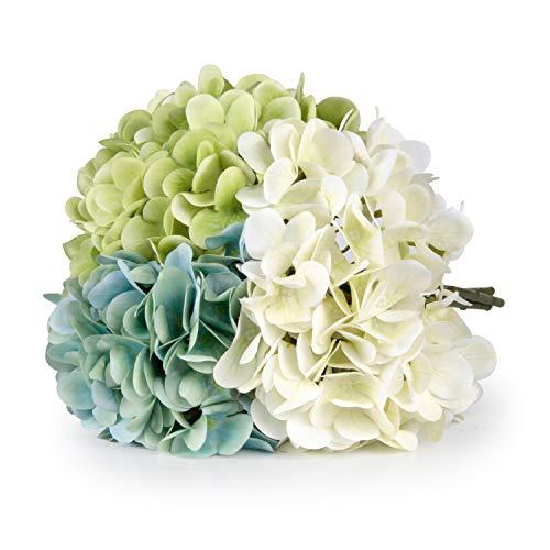T4U 3 Heads Artificial Silk Hydrangea Flowers Fake Flowers Faux Flowers Bouquet for Flowers Arra ...