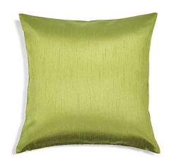 Aiking Home Solid Faux Silk Decorative Pillow Cover, Zipper Closure, 18 by 18 Inches, Green