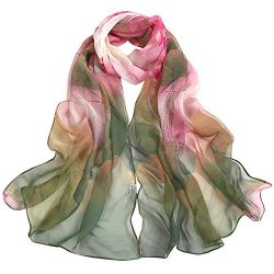 Silk Scarf-Han Shi Fashion Women Vintage Lotus Print Long Soft Wrap Shawl Wrap (Green, L)