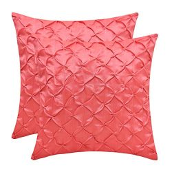 The White Petals Coral Cushion Covers (Faux Silk, Pinch Pleat, 16×16 inch, Pack of 2)