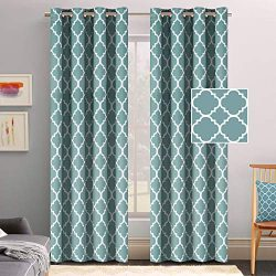 Flamingo P Microfiber Noise Reducing Thermal Insulated Moroccan Blackout Drapes Printed Window C ...