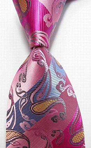 Scott Alone : New Classic Paisley Pink Blue 100% New Jacquard Woven Silk Men's Tie Necktie